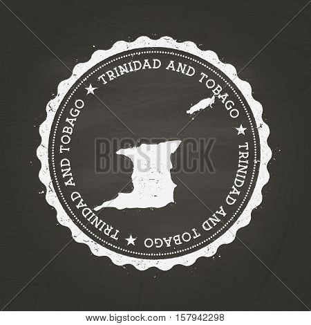 White Chalk Texture Rubber Stamp With Republic Of Trinidad And Tobago Map On A School Blackboard. Gr