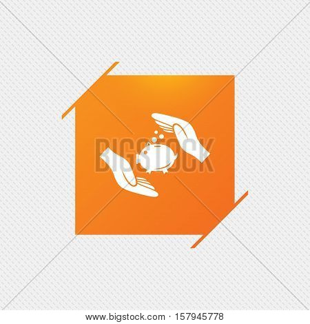Piggy bank money sign icon. Hands protect moneybox symbol. Money or savings insurance. Orange square label on pattern. Vector