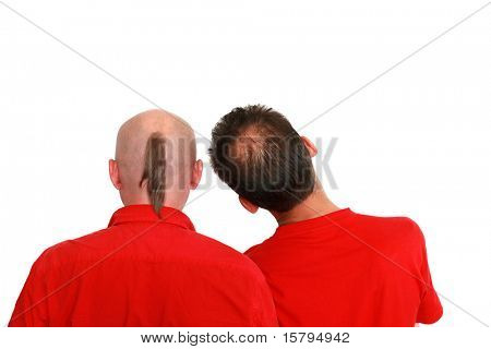 Balding problems. Two men isolated on white.
