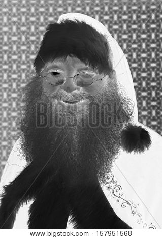 Santa Claus Head Shot. Santa Headshot. Santa Claus Studio Head shot. Head shot in black and white. Smiling Santa Claus. Negative image makes Santa look Creepy. Bad Santa.