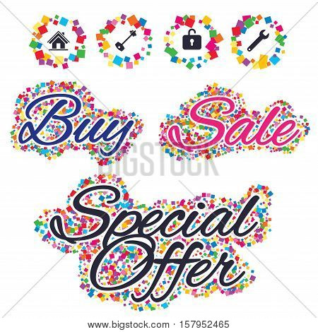 Sale confetti labels and banners. Home key icon. Wrench service tool symbol. Locker sign. Main page web navigation. Special offer sticker. Vector