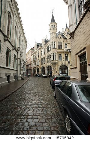 Street of an old European town. Riga, Latvia, Europe.