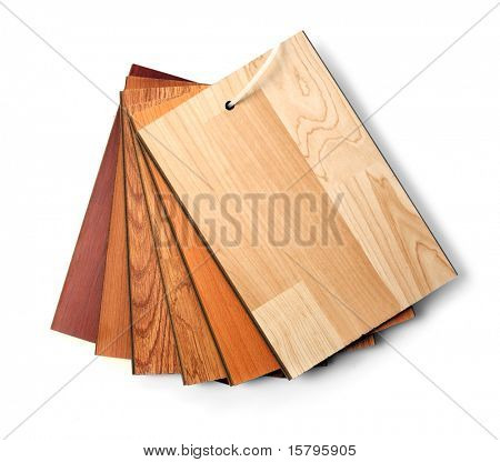 Sample pack of wooden flooring laminate isolated on white