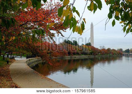 Washington D.C. in Autumn - Washington Monument as seen from Tidal Basin