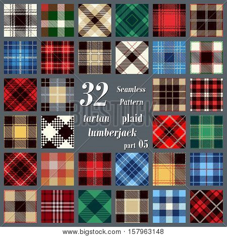Set Tartan Seamless Pattern. Trendy Vector Illustration for Wallpapers. Seamless Tartan Tiles. Suits for Decorative Paper Fashion Design and House Interior Design as Well as for Hand Crafts