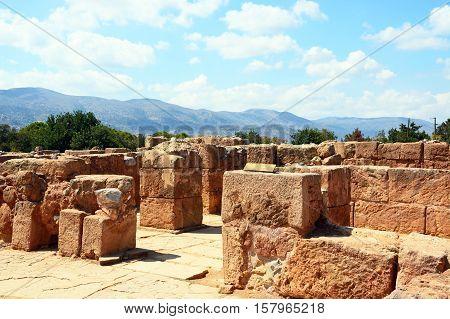 View of the Pillar Cyrpt building within the Minoan Malia ruins archaeological site Malia Crete Greece Europe.
