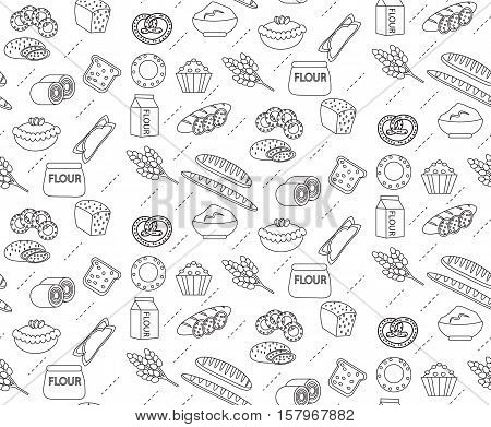 Bakery seamless pattern. Line, outline, doodle style. Bread and buns texture. Flour products endless background. bread and pastry backdrop. Vector illustration
