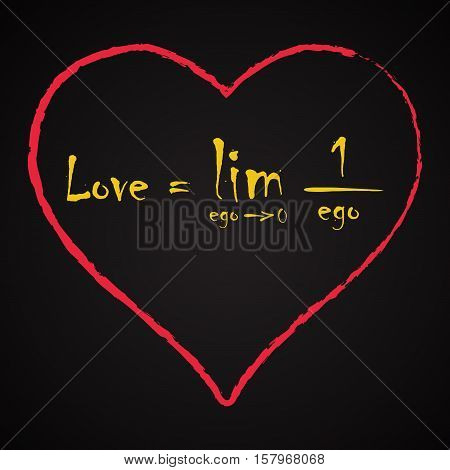 Love equation made with math symbols - funny inscription love template