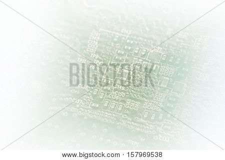 Light Silhouette Of Pc Circuit Board, Faded Into White At The Sides, As A Background For Your Busine