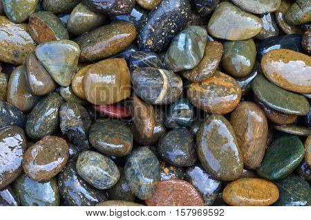 A Heap Of Wet Pebble Stone For Background And Texture
