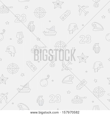 Seamless vector pattern of military icons on a gray background. Beautiful background for your design. Wrapping paper. Defender of the Fatherland Day.