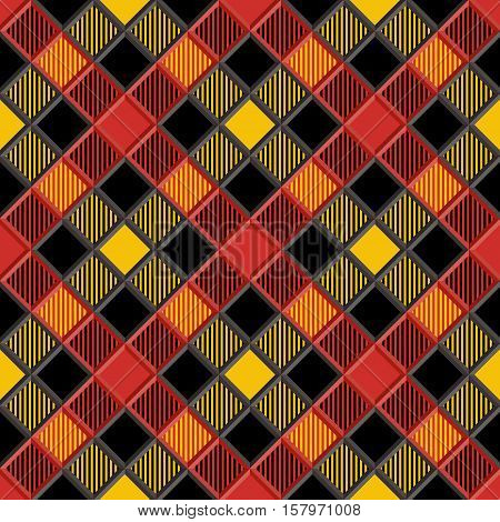 3D Lumberjack Tartan Seamless Pattern in Black Yellow Red and Gray. Trendy volumetric illustration for wallpapers. Traditional Scottish ornament. Tartan plaid inspired background.
