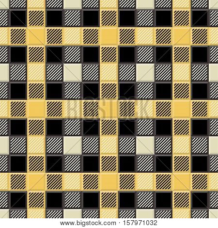 3D Lumberjack Tartan Seamless Pattern in Black Yellow Beige and Gray. Trendy volumetric illustration for wallpapers. Traditional Scottish ornament. Tartan plaid inspired background.