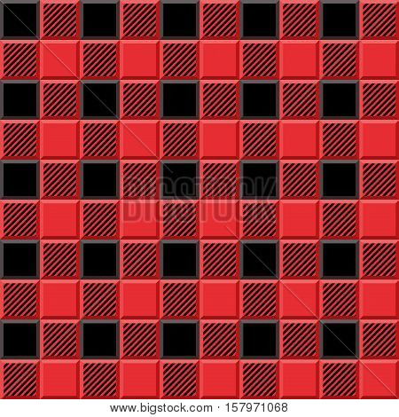 3D Lumberjack Tartan Seamless Pattern in Black Red and Gray. Trendy volumetric illustration for wallpapers. Traditional Scottish ornament. Tartan plaid inspired background.