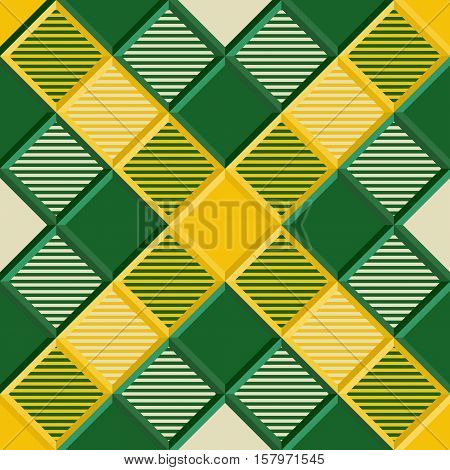 3D Lumberjack Tartan Seamless Pattern in Green Yellow and Beige. Trendy volumetric illustration for wallpapers. Traditional Scottish ornament. Tartan plaid inspired background.