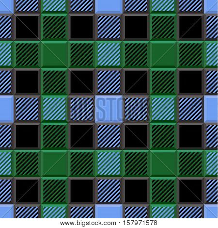3D Lumberjack Tartan Seamless Pattern in Green Blue Black and Gray. Trendy volumetric illustration for wallpapers. Traditional Scottish ornament. Tartan plaid inspired background.