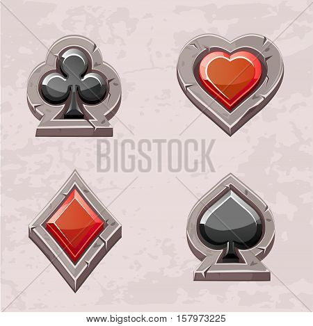 Vector set illustration of stone icons of playings cards isolated. Series of Gaming and Gambling Illustrations