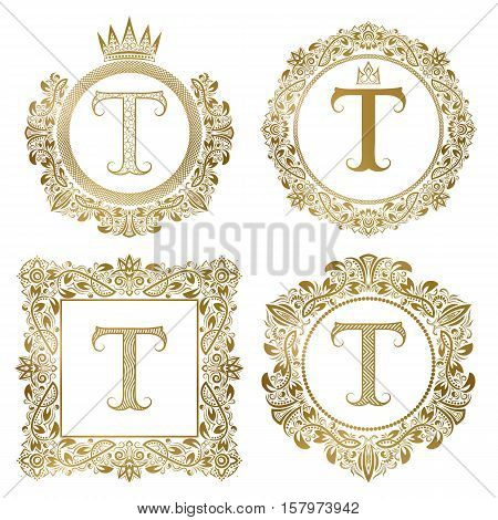 Golden letter T vintage monograms set. Heraldic coats of arms round and square frames.