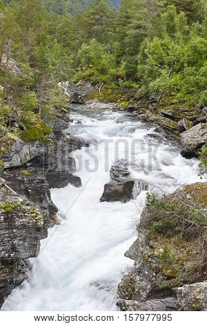 Norway landscape with forest mountains and raume river. Andalsnes. Vertical
