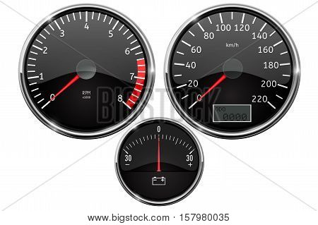 Speedometer, tachometer, accumulator charge level. Vector illustration isolated on white background