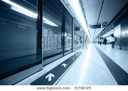 Subway station interior. Wide angle view.