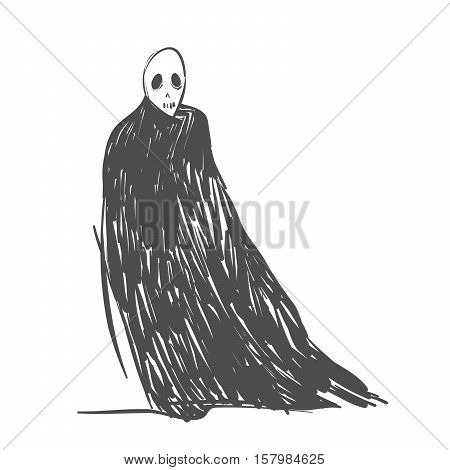 Vector illustration of depressed black death character depicting major depression isolated on white