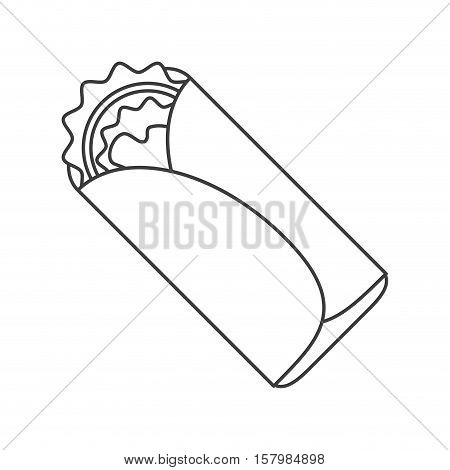 Burrito food icon. Mexican culture tourism landmark and latin theme. Isolated design. Vector illustration
