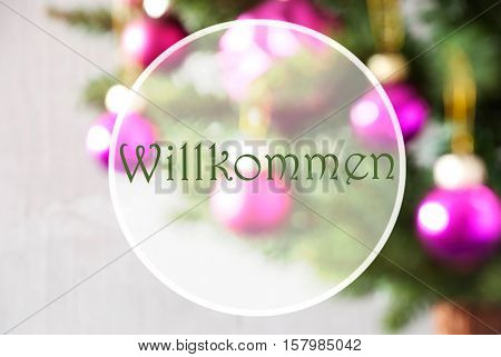 German Text Willkommen Means Welcome. Christmas Tree With Rose Quartz Balls. Close Up Or Macro View. Christmas Card For Seasons Greetings.