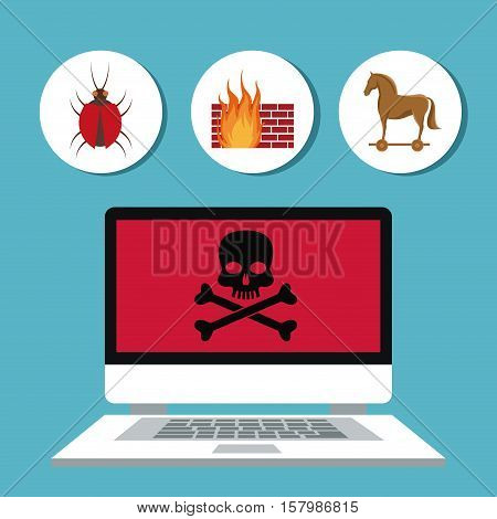 Laptop skull and icon set. Cyber security system warning and protection theme. Vector illustraton