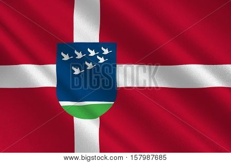 Flag of Lolland is a municipality in Denmark in Zealand Region. 3d illustration