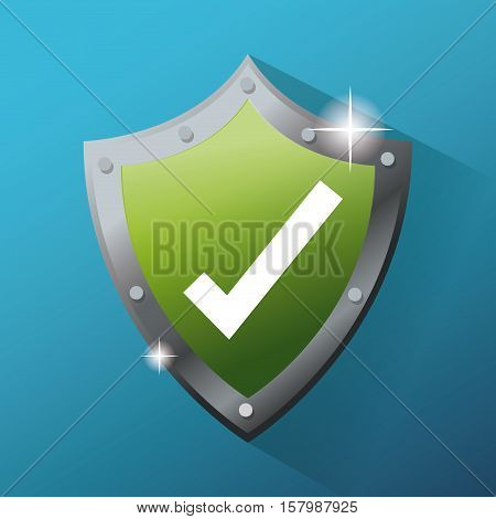Shield and check mark icon. Cyber security system warning and protection theme. Vector illustraton