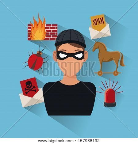 Hacker and icon set. Cyber security system warning and protection theme. Vector illustraton
