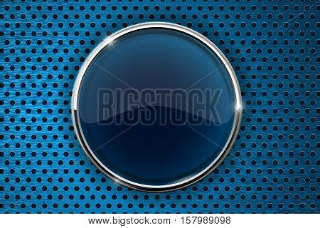 Dark blue button with chrome frame. On blue perforated background. Vector illustration