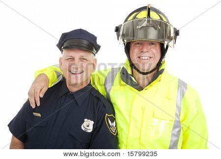 Policeman and firefighter isolated on white background.
