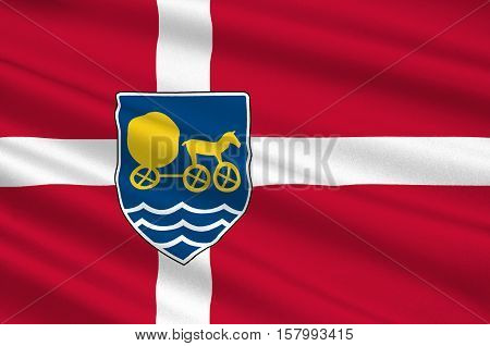 Flag of Odsherred is a municipality in Denmark in Zealand Region. 3d illustration