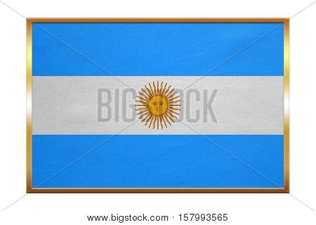 Argentinian national official flag. Argentine Republic patriotic symbol banner element background. Flag of Argentina golden frame fabric texture illustration. Accurate size color