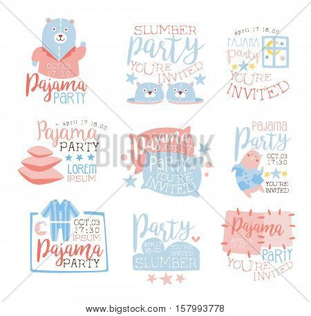Pink And Blue Girly Pajama Party Invitation Templates Set Inviting Kids For The Slumber Pyjama Overnight Sleepover Cards. Collection Of Stencils For The Welcome Postcards With Night And Bed Symbols In Pastel Colors.