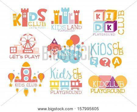 Kids Land Playground And Entertainment Club Set Of Bright Color Promo Signs For The Playing Space For Children. Template Promotional Logos With Toys And Rides For The Entertaining Family Center.