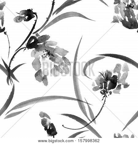 Plants with flower and grass. Ink painting in style gohua sumi-e u-sin. Oriental traditional painting. Seamless pattern.