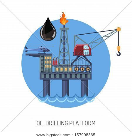 Oil drilling platform concept with Flat Icons extraction and oil drop. isolated vector illustration