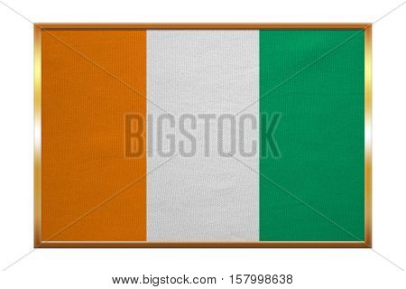 Cote D Ivoire national official flag. African patriotic symbol banner element background. Correct colors. Flag of Ivory Coast golden frame fabric texture illustration. Accurate size color