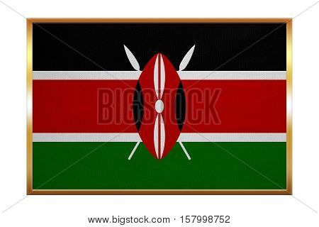 Kenyan national official flag. African patriotic symbol banner element background. Correct colors. Flag of Kenya golden frame fabric texture illustration. Accurate size color