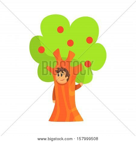 Boy In Costume Of The Apple Tree Performing In Theatrical Show In Fairy-Tale Story. Children Actors Acting On Stage Of School Theatre In A Play For Performance Art Class Colorful Vector Illustration