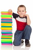 Preschooler And Big Stack Books