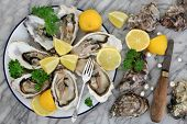 Oysters on crushed ice with antique oyster knife and silver fork with lemon fruit and pearls on a ti poster