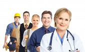 Business people team.  Doctor, builder, student.  Isolated over white background