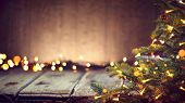 Christmas Holiday Background, Christmas table background with decorated Christmas tree and garlands. poster
