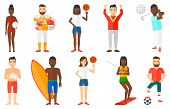 Постер, плакат: Man holding volleyball ball in hand Beach volleyball player standing with volleyball ball Woman sp