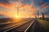 Railway Station Against Beautiful Sky At Sunset. Industrial Landscape poster