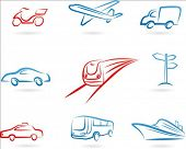 Collection of line-art transportation icons
